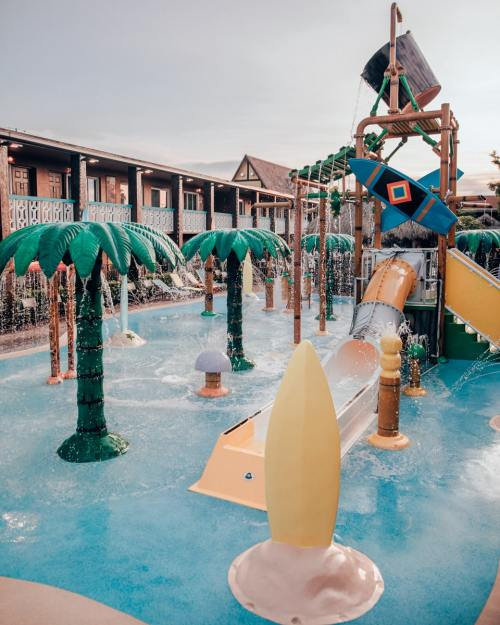 Wakulla Falls Water Park's splash pad at Westgate Cocoa Beach Resort. Get the full review of this resort perfect for a Florida family vacation with kids.