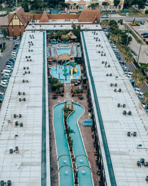 Wakulla Falls water park in the middle of Westgate Cocoa Beach Resort taken from a drone. Read a full review of Westgate Cocoa Beach Resort and Wakulla Falls here.