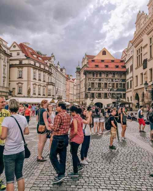 People walking the streets of Prague, Czech Republic