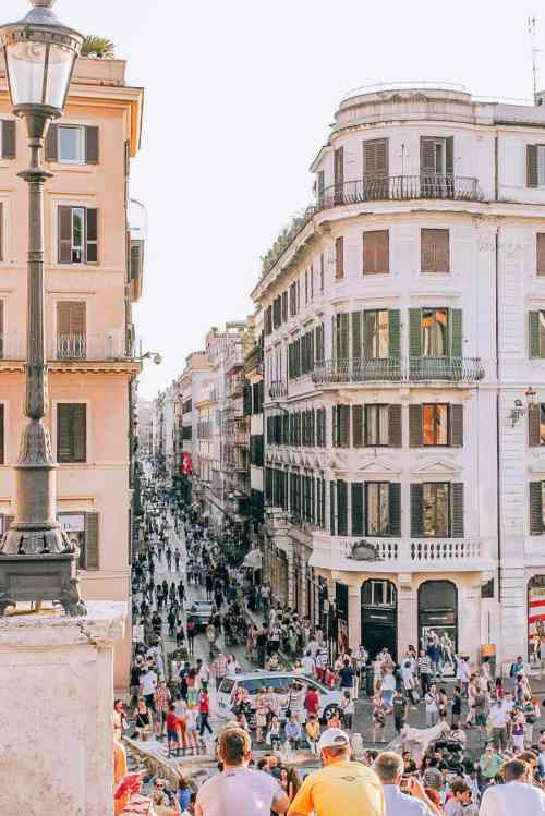The view from the Spanish Steps of the streets of Rome at sunset