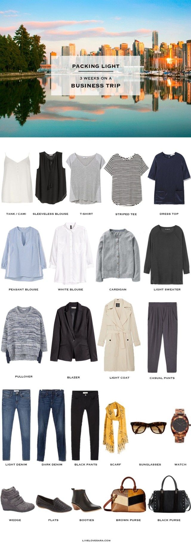 What to pack for a Business Trip 3 Weeks Casual Chic #capsule #workcapsule #businesstrip #workwardrobe