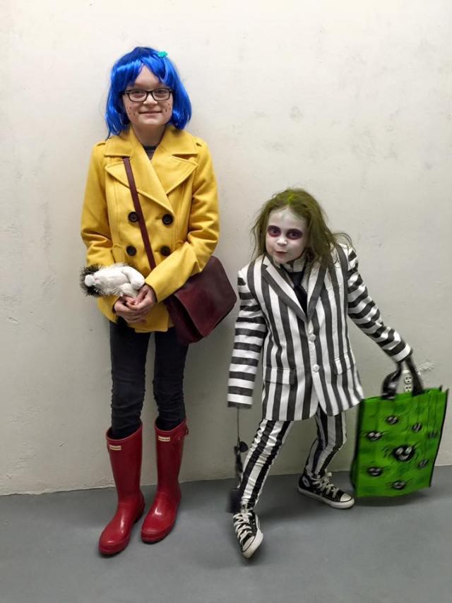 Kids Beetlejuice and Coraline Costume Halloween DIY