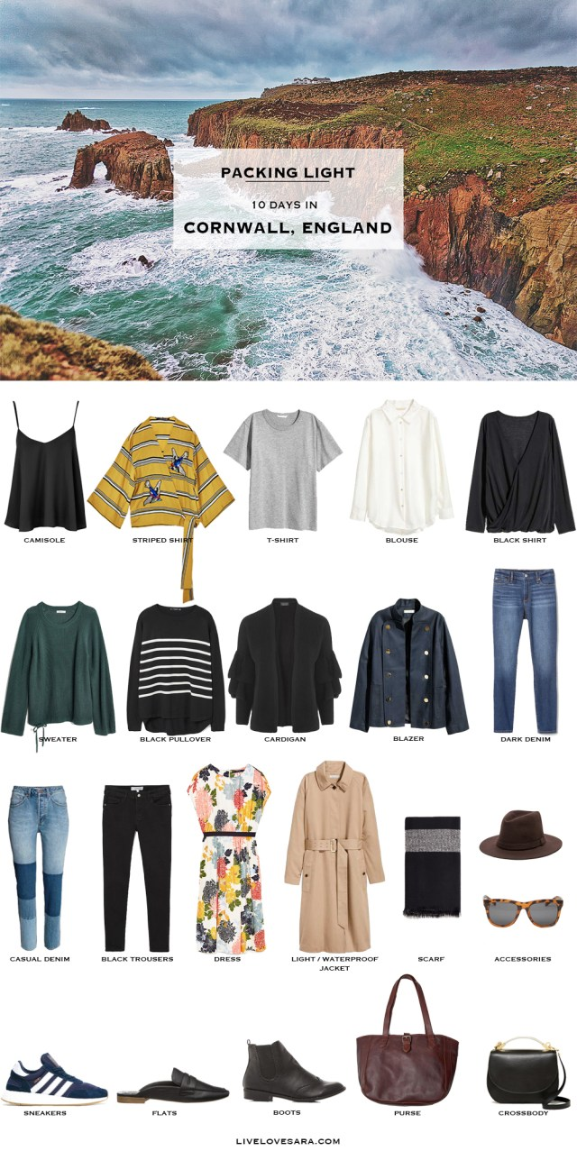 What to Pack for Cornwall England Packing Light List #packinglist #packinglight #travellight #travel #livelovesara