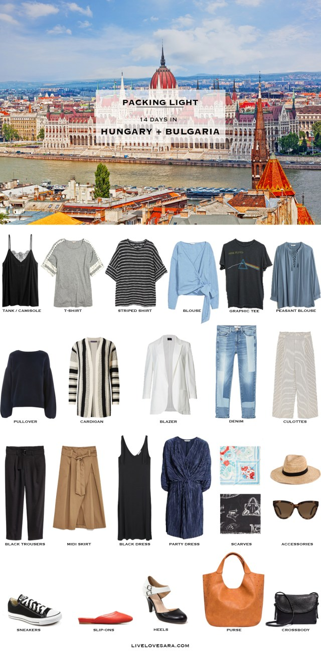 What to Pack for Hungary and Bulgaria Packing Light List #packinglist #packinglight #travellight #travel #livelovesara
