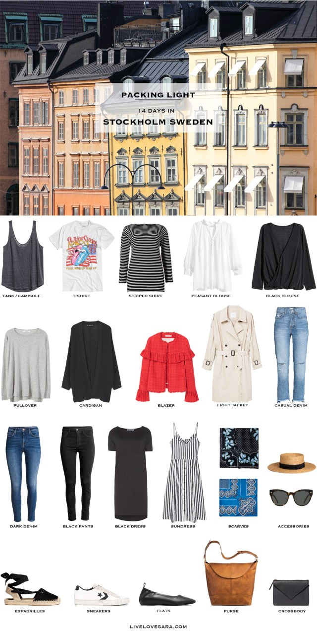 What to Pack for Stockholm Sweden Packing Light List #packinglist #packinglight #travellight #travel #livelovesara