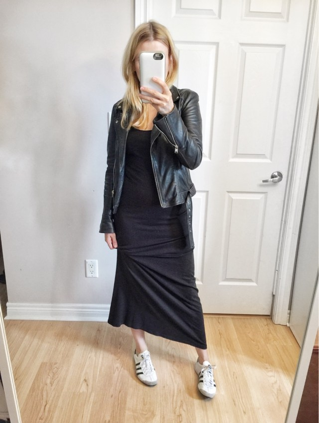 Black maxi dress, leather jacket, Adidas