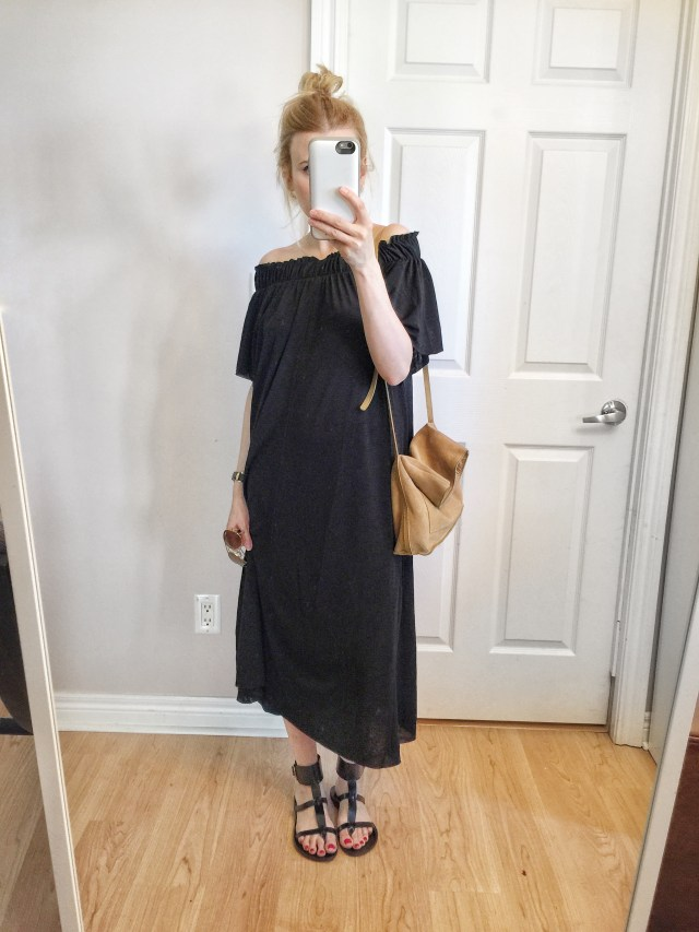 black off the shoulder maxi dress, gladiator sandals