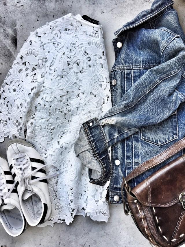 white, lace shirt. denim jacket, Adidas