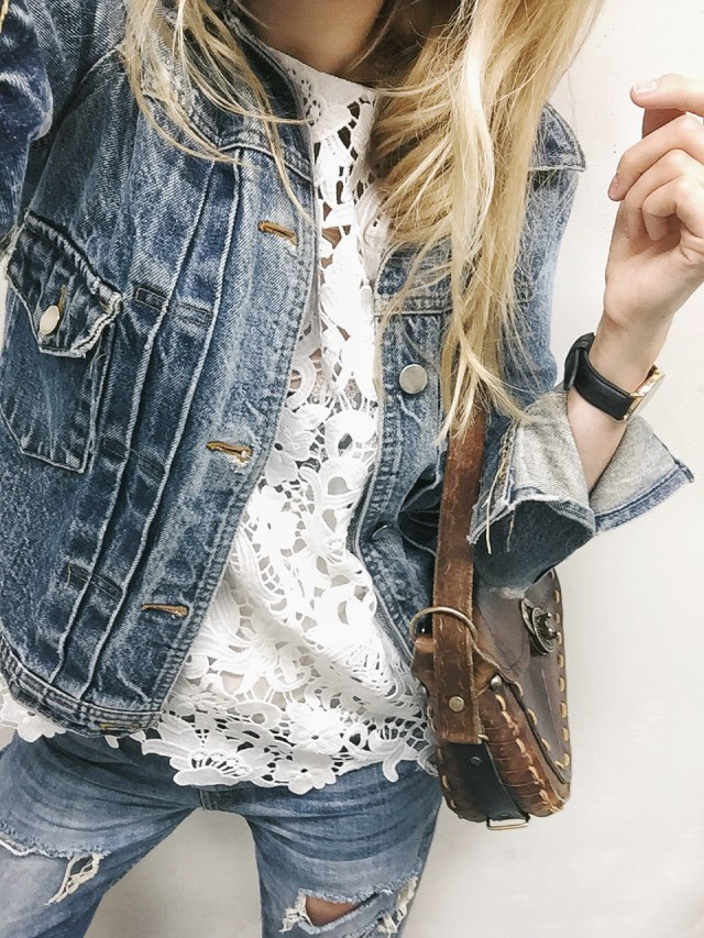 White lace top with denim jacket