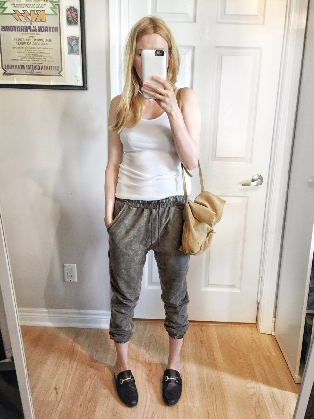 Casual pants, tank top, and slides