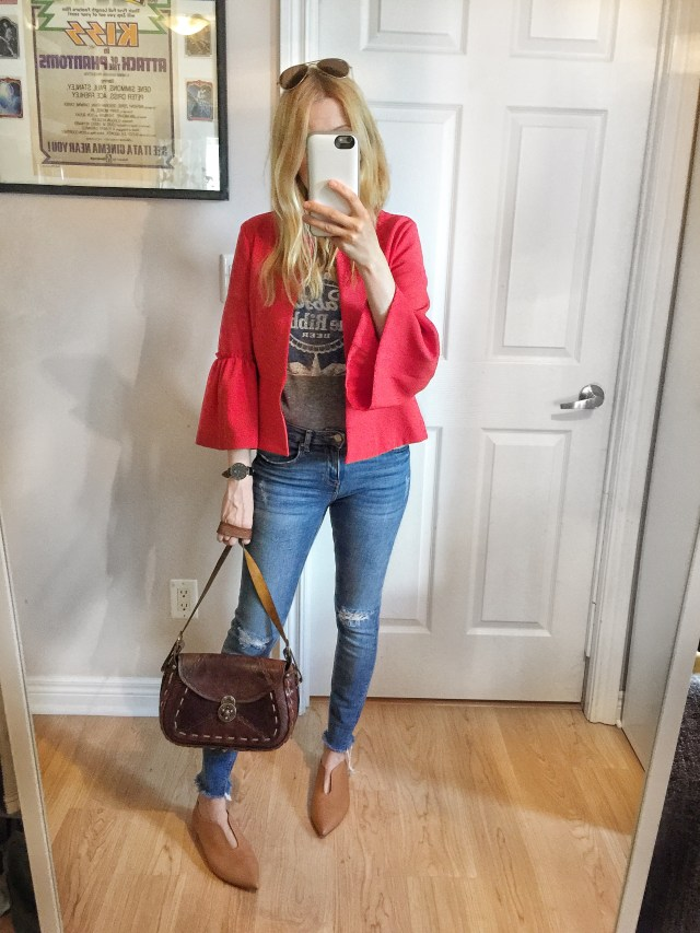 red jacket, graphic t-shirt, skinny jeans