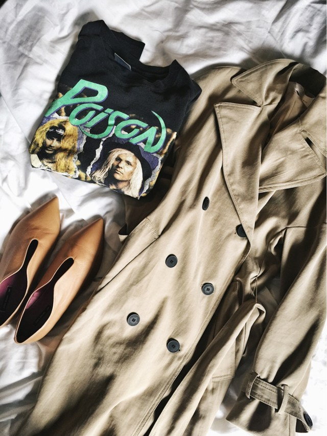Vintage Poison Tee, trench coat, brown shoes