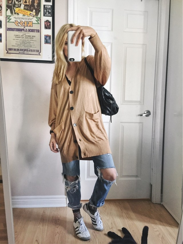 Camel oversized cardigan, boyfriend jeans, and Adidas