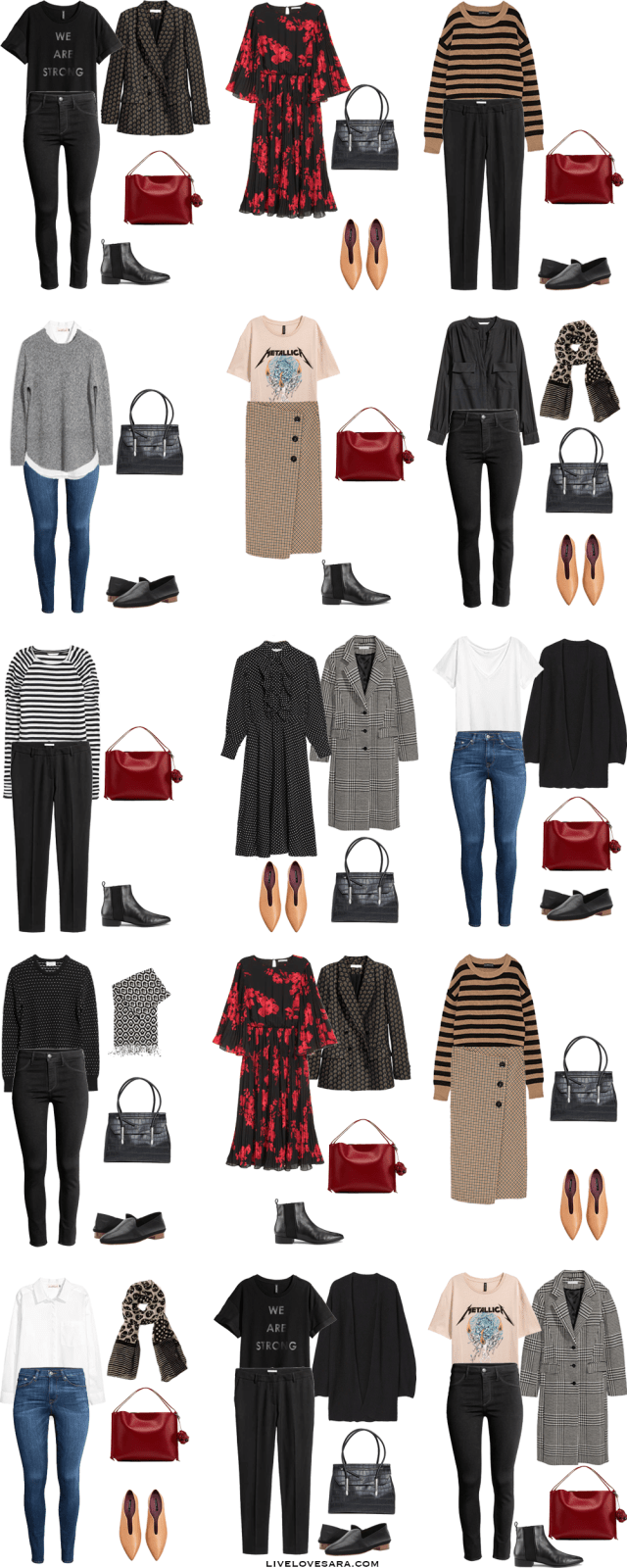 Personal and Work Capsule Wardrobe Outfit Options 1-15 via livelovesara