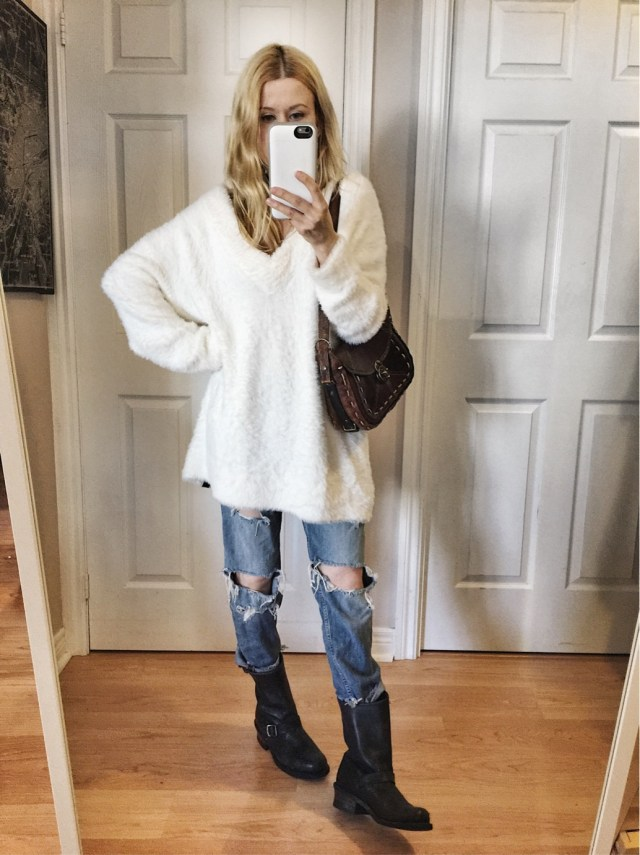 Oversized Sweater, distressed jeans, and frye boots