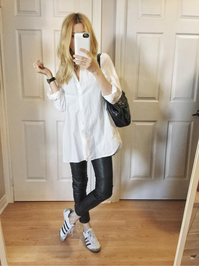 White Blouse, leather leggings, Adidas