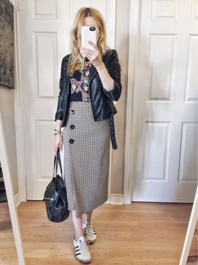 Band t-shirt, checkered Zara skirt, leather jacket, Adidas