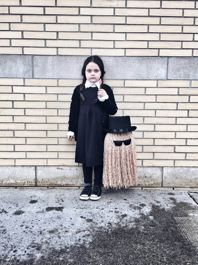 Kids Wednesday Addams and Cousin It Halloween costume #diy #livelovesara #halloweencostume #wednesdayaddams