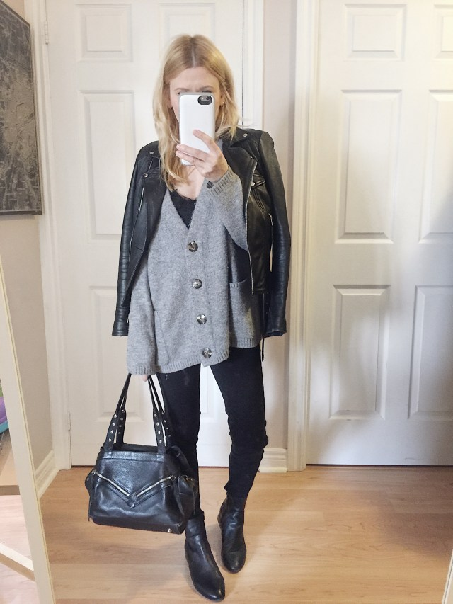 oversized cardigan, leather jacket, black ankle jeans, boots