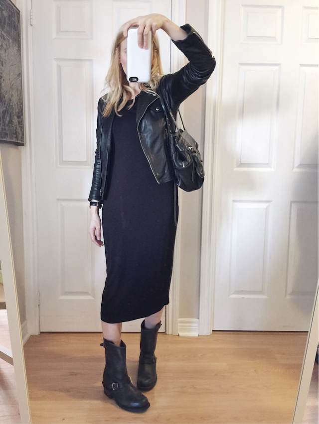 Black Sheath dress, leather jacket, Frye Engineer Boots