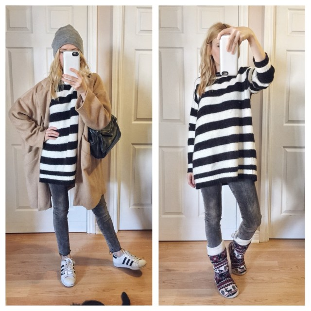 Going out and hanging out at home. Striped sweater, grey jeans, Adidas, camel coat, and beanie.
