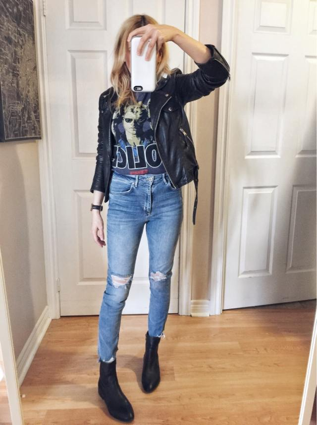 Police Band Tee, leather jacket, jeans, and sock boots