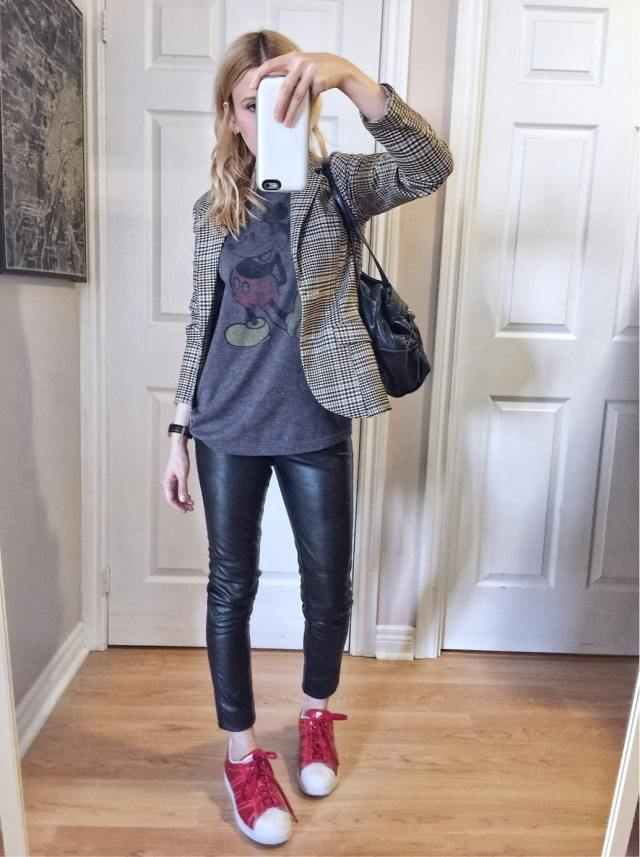 What I wore this week: vintage mickey t-shirt, checked blazer, faux leather pants, and red Adidas