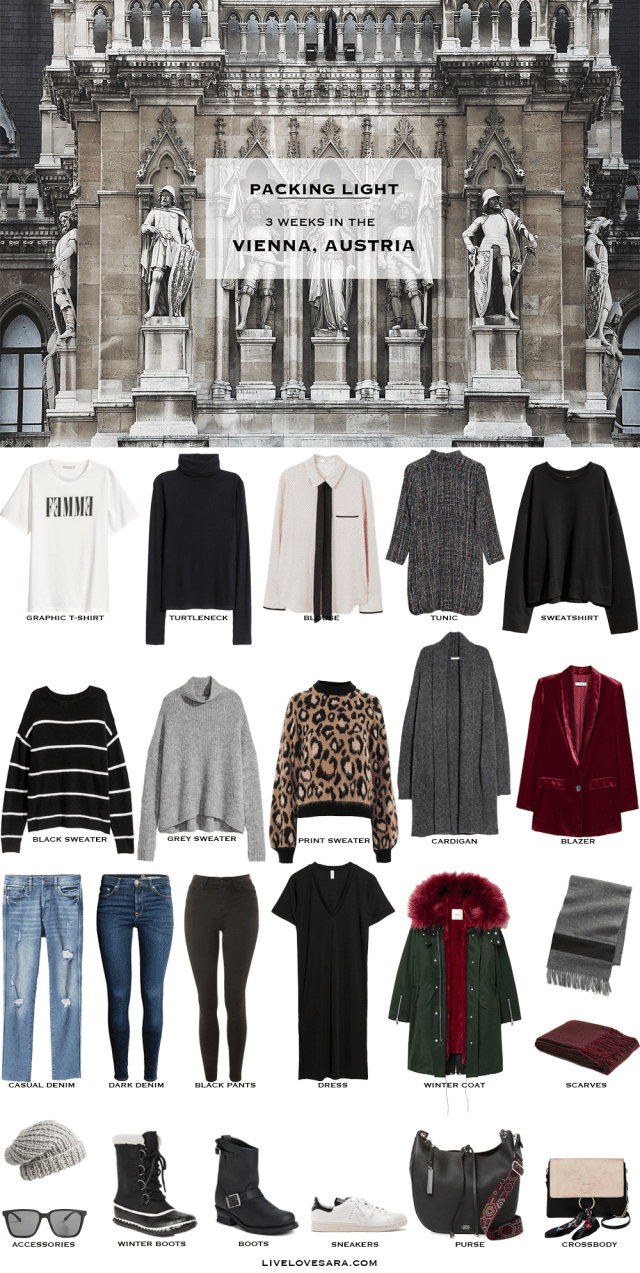 What to Pack for the Vienna, Austria Packing Light List #packinglist #packinglight #travellight #travel #capsule #capsulewardrobe #livelovesara
