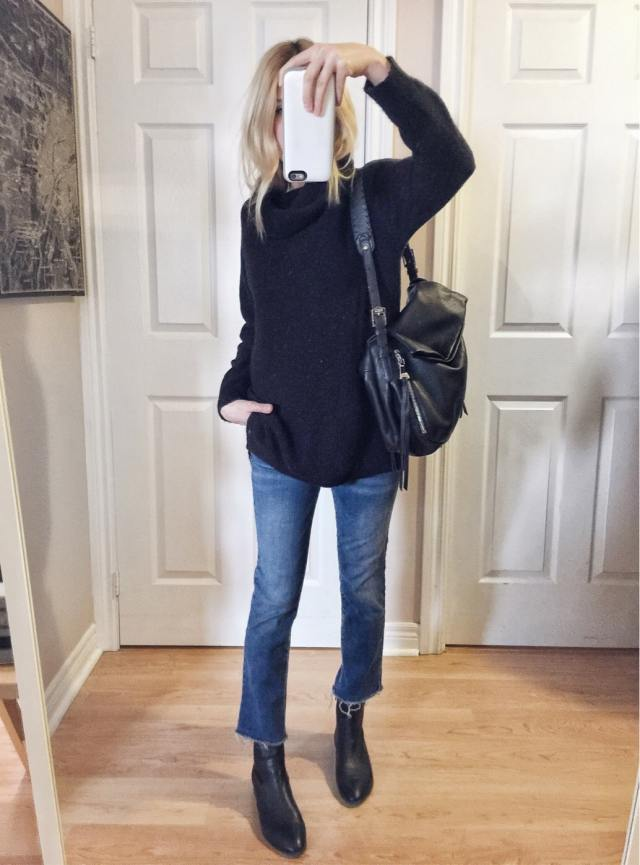 oversized turtleneck sweater, cropped jeans, sock boots #livelovesara style overhaul