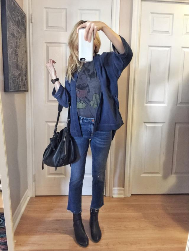 Kimono shirt, mickey mouse t-shirt, cropped jeans, sock boots