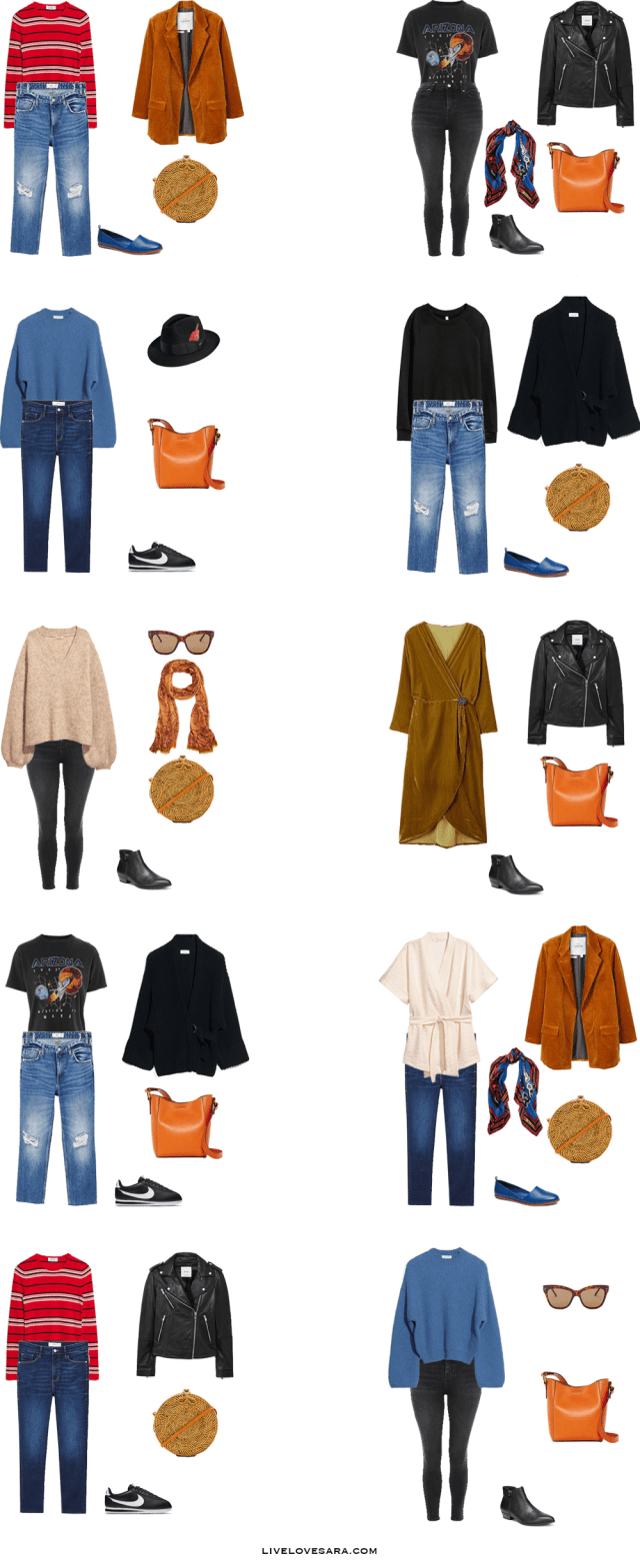 What to Pack for Amsterdam, Netherlands Outfit Options 1-10 | Packing Light | Packing List | Travel Light | Travel Wardrobe | Travel l Capsule | Capsule | Capsule Wardrobe | Travel | Travel tips | What to Pack | Amsterdam | What to Wear | Livelovesara