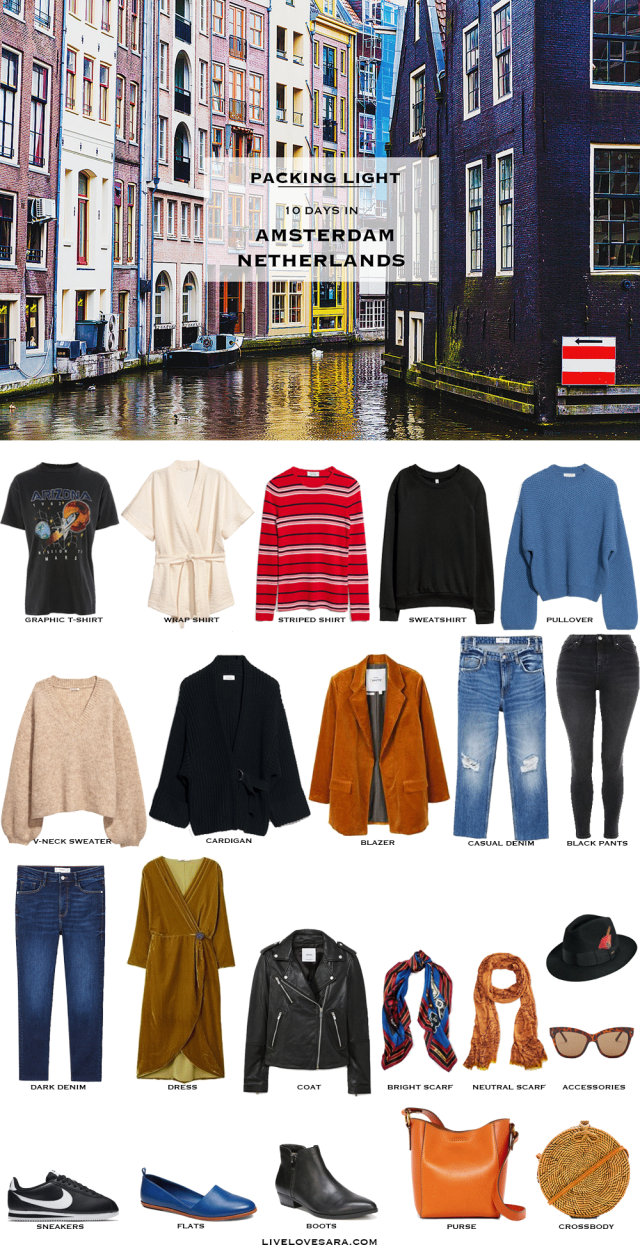 What to Pack for the Amsterdam, Netherlands | Packing Light | Packing List | Travel Light | Travel Wardrobe | Travell Capsule | Capsule | Capsule Wardrobe | Travel | Travel tips | What to Pack | Amsterdam | Livelovesara