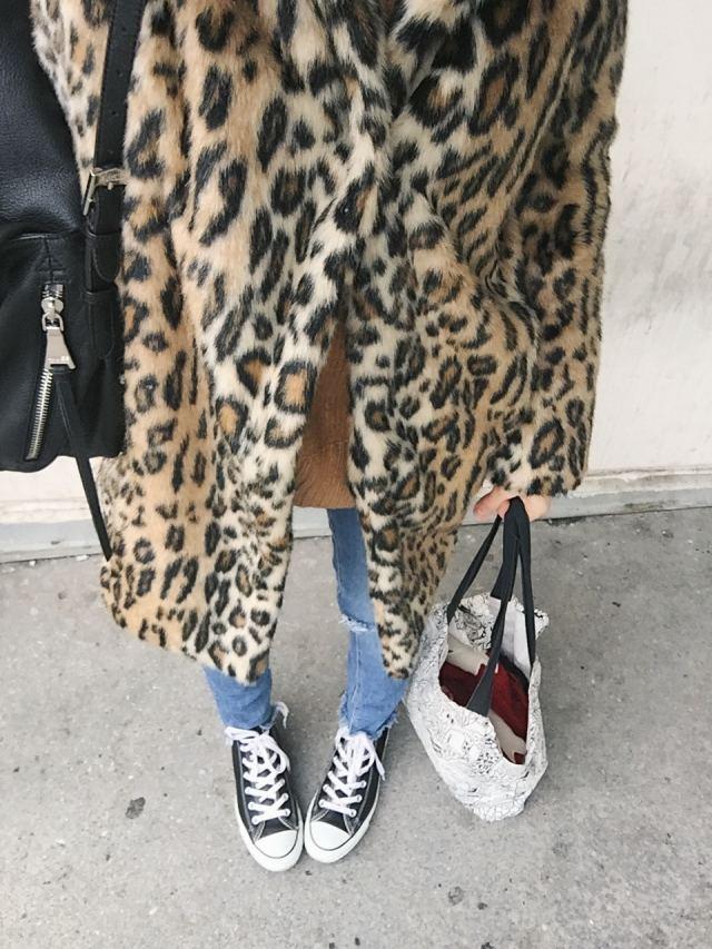 Animal Print Coat | Skinny Jeans | Converse