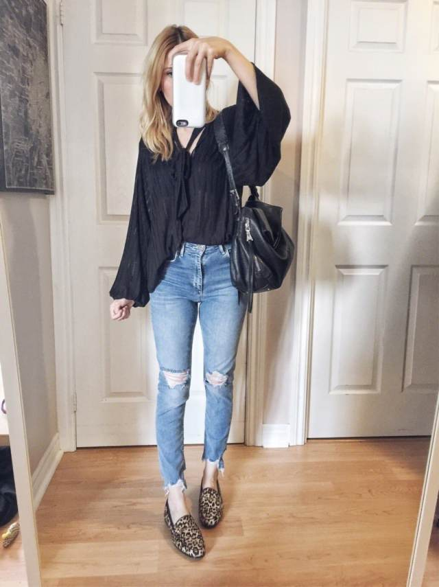 Tie Neck Blouse | High waist Jeans | Animal Print Loafers | Loraine Loafers Sam Edelman
