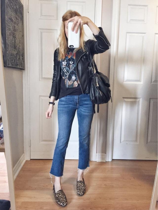 I am wearing Cropped Jeans | a vintage Kiss T-shirt | Leather Jacket | and Sam Edelman Loafers |