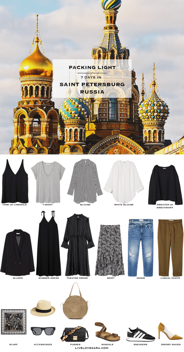 If you are wondering what to pack for Saint Petersburg, Russia in the summer time for 7 days, you can see some ideas here. What to Pack for Russia Packing Light List | What to pack for Saint Petersburg l | What to Pack for summer | Packing Light | Packing List | Travel Light | Travel Wardrobe | Travel Capsule | Capsule |