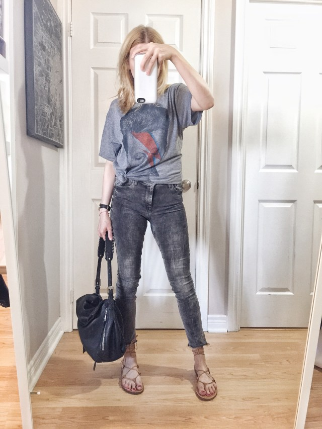 I am wearing a David Bowie t-shirt, grey, cropped skinnies, and madewell boardwalk sandals