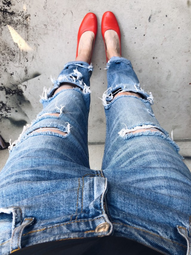 I am wearing my new Everlane Day heels with distressed jeans.