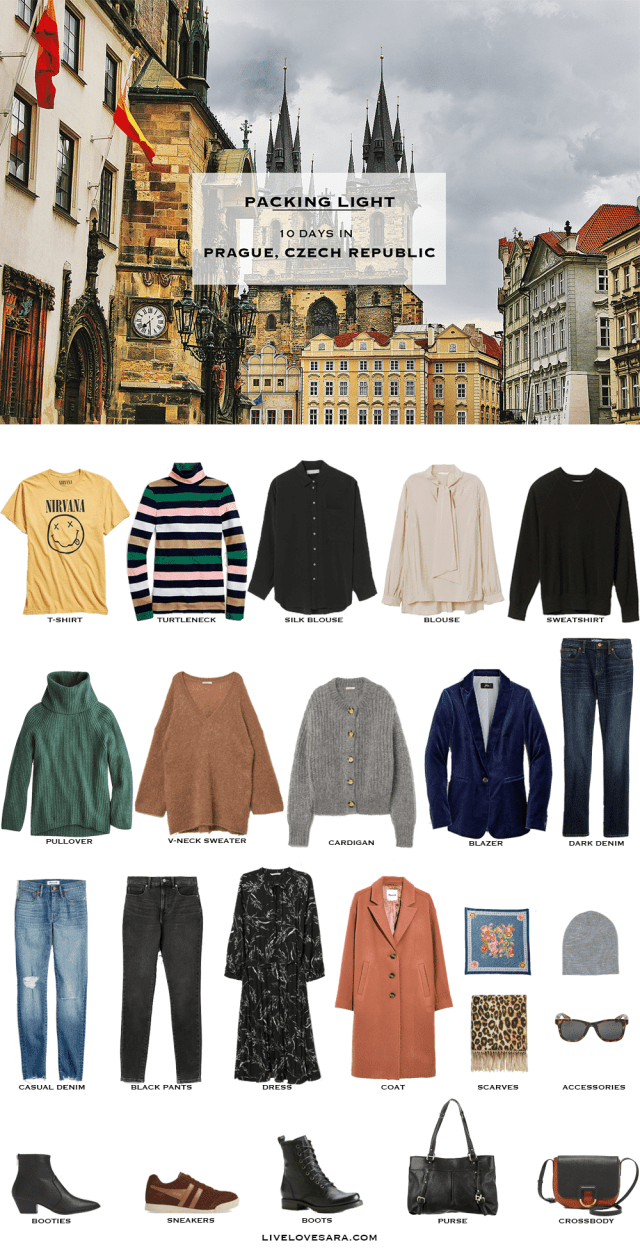 If you are wondering what to pack for a 10 day vacation to Prague, Czech Republic, you can see some ideas here. What to Pack for Prague Packing Light List | What to pack for Czech Republic | What to Pack for Europe | What to Pack for Autumn | Packing Light | Packing List | Travel Light | Travel Wardrobe | Travel Capsule | Capsule | England | Europe
