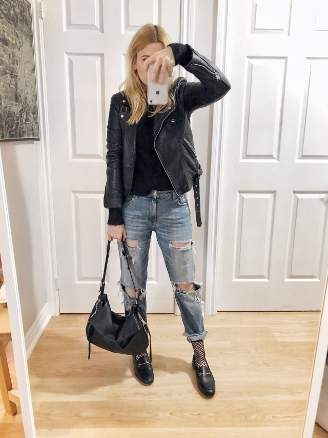 What I wore. A black sweater, moto jacket, with boyfriend jeans, and Sam Edelman Loafers.