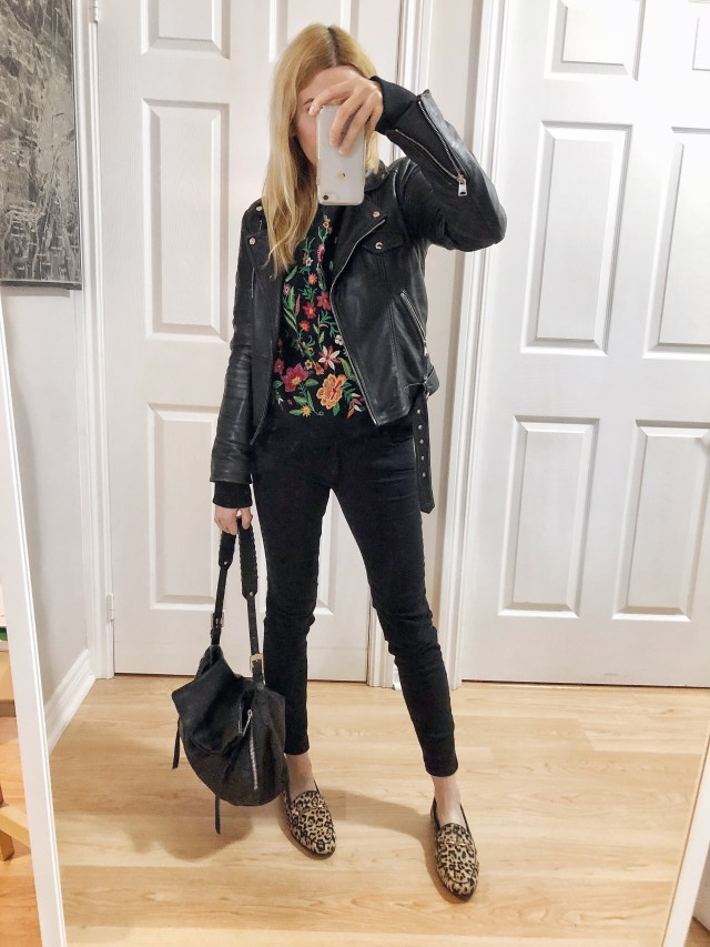 What I wore. A floral embroidered sweatshirt, moto jacket, with black skinnies, and animal print Sam Edelman Loafers.