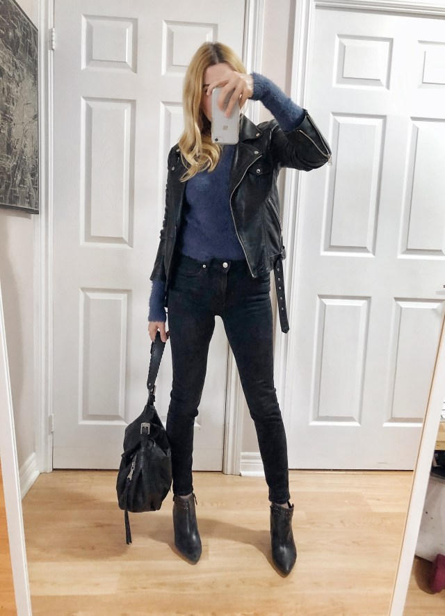 What I Wore. I am wearing a blue, fuzzy sweater, leather jacket, black skinnies, and ankle boots.