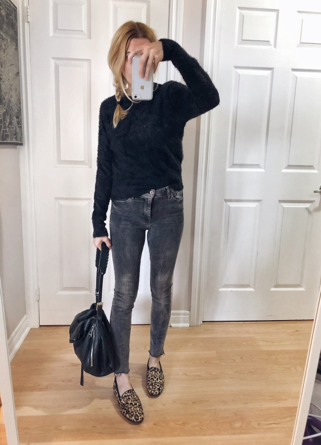 What I wore. I am wearing a black fuzzy sweater, grey skinnies, and animal print Sam Edelman loafers.