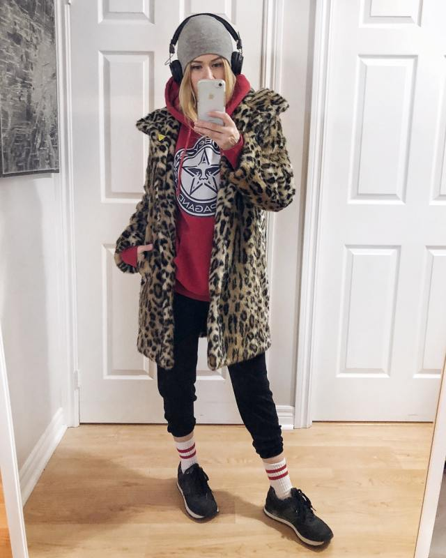 What I Wore. I am wearing a my straight up casual clothes to go for a long walk. A red Obey Hoodie, black slouchy pants, striped socks, new Balance Sneakers, an animal print coat, and Sudio Headphones. via livelovesara.com #livelovesara