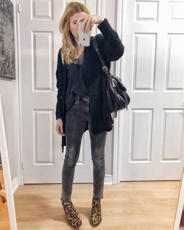 What I Wore. I am wearing a black camisole, an oversized black cardigan, grey skinny jeans, and animal print booties. #livelovesara