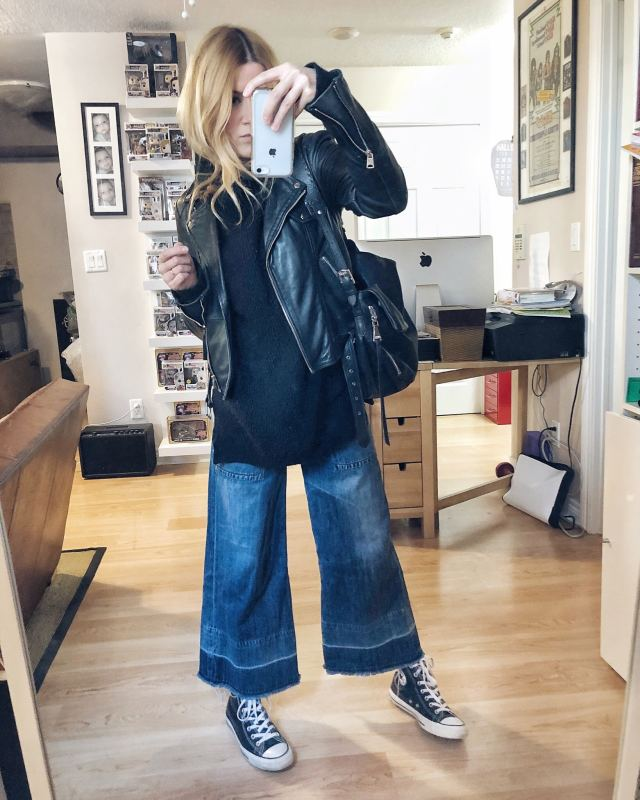 What I Wore. I am wearing an oversized, black turtleneck sweater, wide leg jeans, a leather moto, and converse.