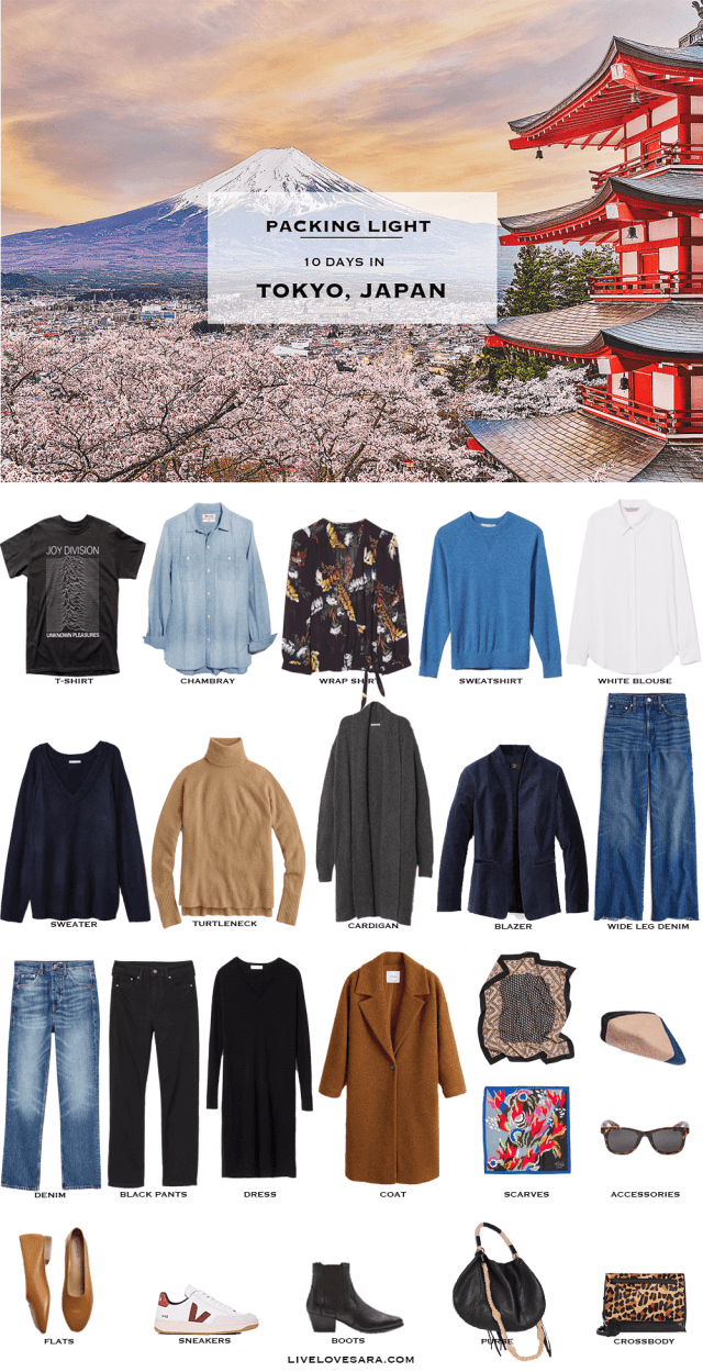 If you are looking to visit Tokyo, Japan in spring for the Cherry Blossom Festival I have a 10 day packing list for you. For ideas on what to pack for a 10 spring vacation to Tokyo you can get some ideas in this post. A 10 day packing list to Tokyo. What to Pack for Tokyo, Japan Packing Light List | What to pack for Tokyo | What to Pack for Japan | What to Pack for Spring | Packing Light | Packing List | Travel Light | Travel Wardrobe | Travel Capsule | Capsule | Pack for vacation |