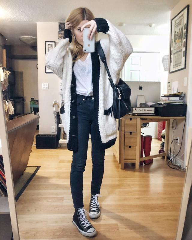What I Wore. I am wearing a white t-shirt, black skinnies, an oversized white cardigan, and black Converse. via livelovesara