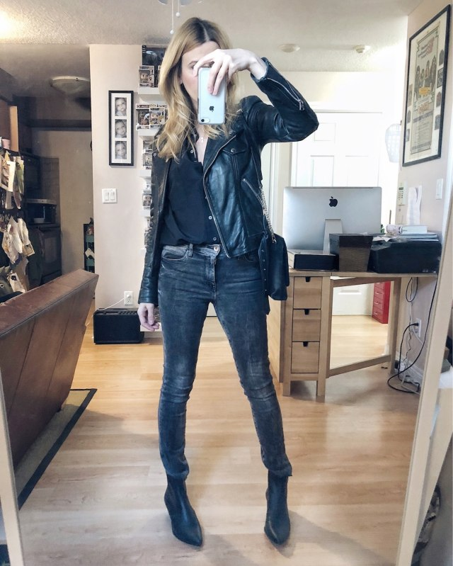 What I Wore. I am wearing grey skinny jeans, a black silk blouse, a moto jacket, and black booties.