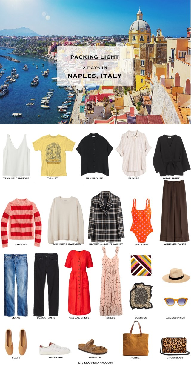 Are you wondering what to pack for Naples, Italy? I have a sample of a Naples, Italy packing list to help you on your way. Head over to my post for what to pack and outfit ideas. Naples Packing List | What to pack for italy | #worldtravel international packing list #packinglight Packing Light | beach vacation | Travel Light | Travel Wardrobe | Travel Capsule | Capsule | Pack for vacation #travellight #packinglight #travelcapsule #capsulewardrobe #capsule
